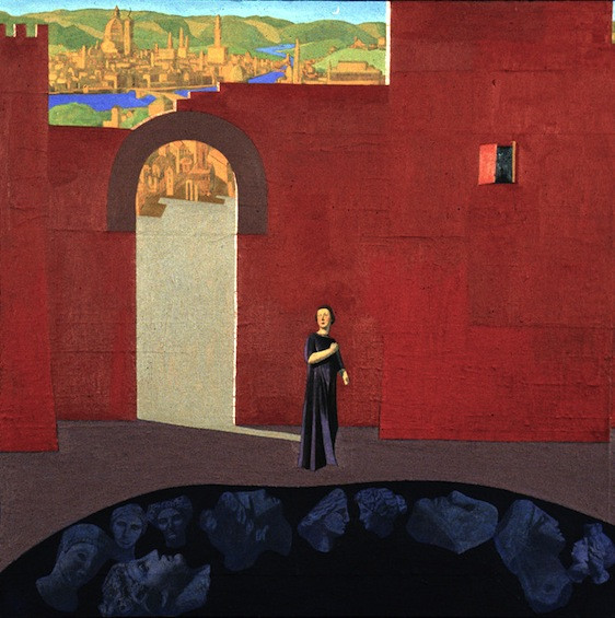 <em>Fuori le Mura,</em> 1992, 30x30 inches, mixed media with oil on panel