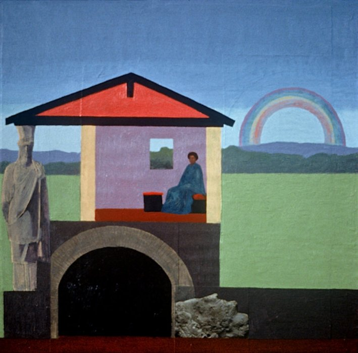 <em>Lady, House, Rainbow,</em> 1990, 14.5 x 14.5 inches, mixed media with oil on board
