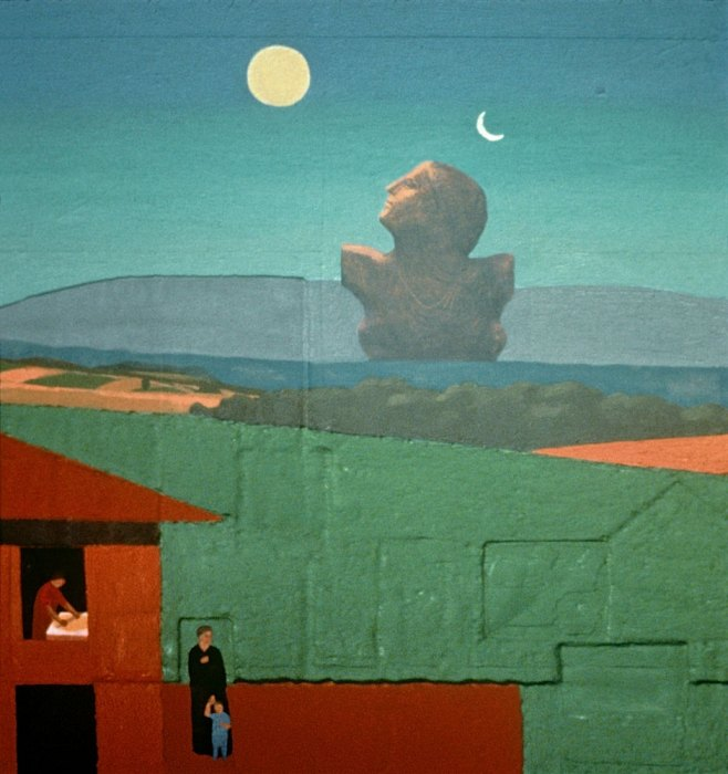 <em>Women and Child in the Landscape,</em> 1989, 15.75x15 inches, mixed media with oil on board