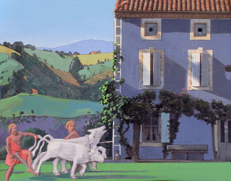 <em>Farmhouse with Bue,</em> 2006, 11x14 inches, mixed media with matte acrylic on panel