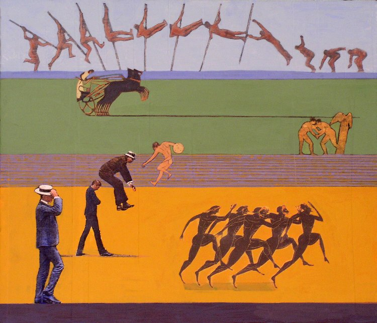 <em>Men Moving Through the Landscape,</em> 2004, 12x14 inches, mixed media with matte acrylic on panel