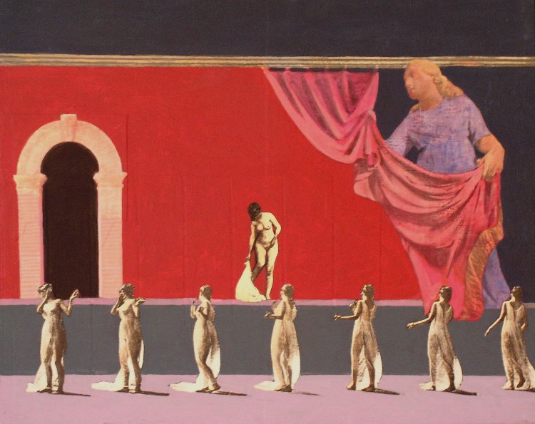 <em>On Stage,</em> 2003, 11x14 inches, mixed media with matte acrylic on panel