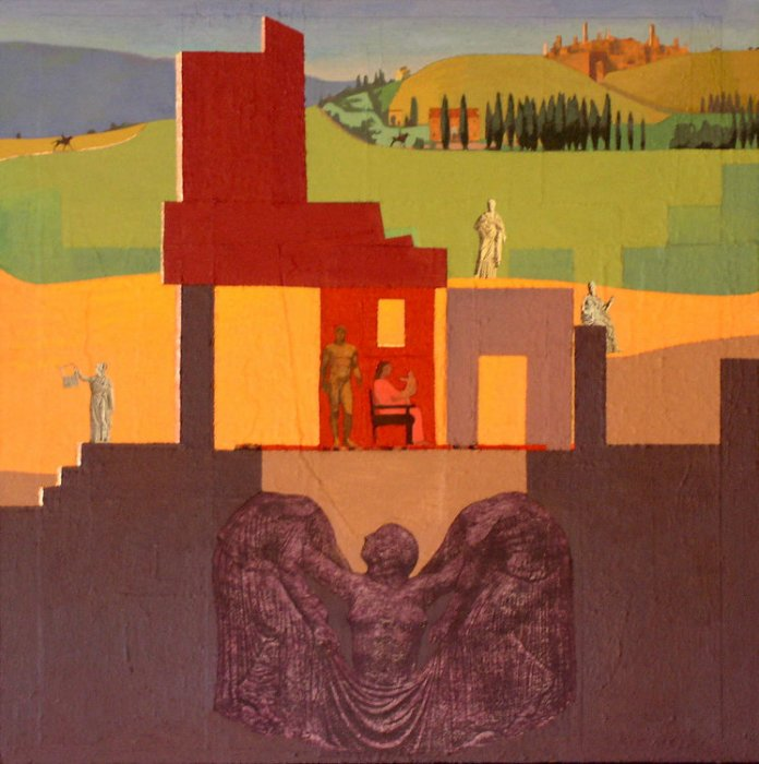 <em>Family with Muses,</em> 2003, 30x30 inches, mixed media with oil on panel