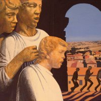 <em>Boys Singing, Men Running,</em> 2003, 11x14 inches, mixed media with matte acrylic on panel