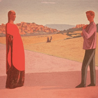 <em>Couple Near a Town,</em> 1999, 15.5x22.5 inches, mixed media with matte acrylic on panel