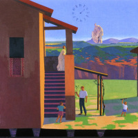 <em>La Potatura,</em> 1994, 30x35 inches, mixed media with oil on panel