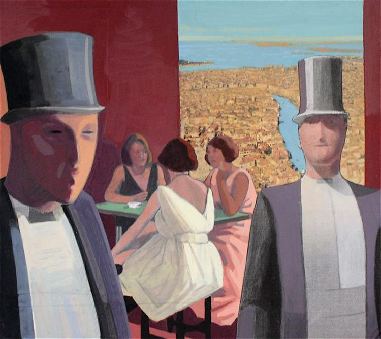 <em>Top Hats,</em> 2007, 10x11 inches, mixed media with matte acrylic on panel