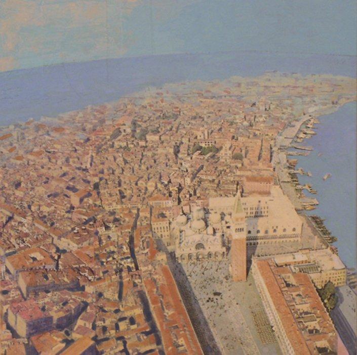 <em>Venezia,</em> 2010, 10x10 inches, mixed media with matte acrylic on panel
