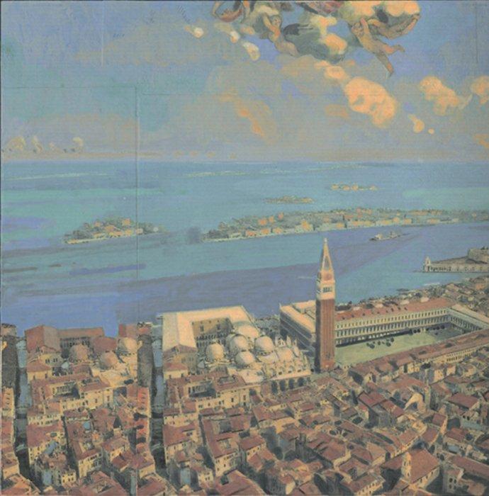 <em>Venezia, Putti,</em> 2010, 10x10 inches, mixed media with matte acrylic on panel