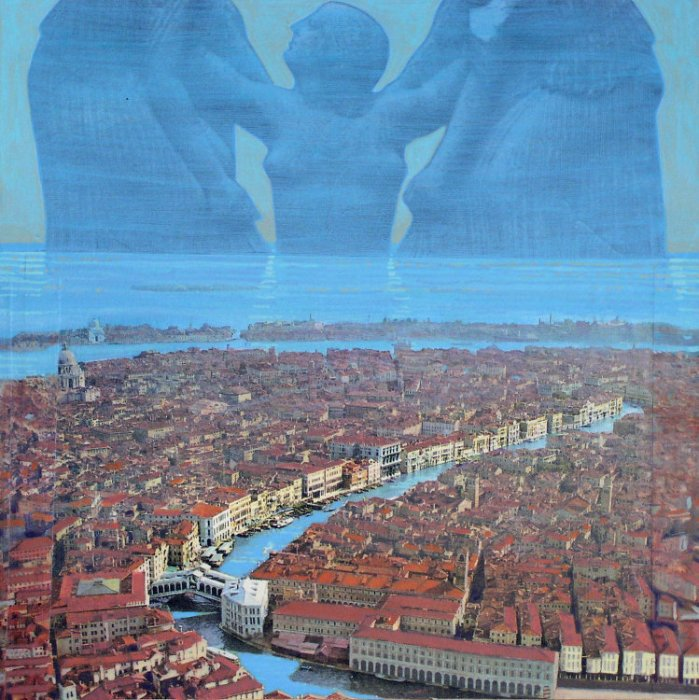 <em>The Birth of Venus in Venice,</em> 2006, 12x12 inches, mixed media with matte acrylic on panel