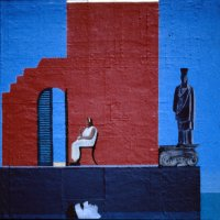 <em>Woman Among Ruins, 1991,</em> 20x20 inches, mixed media with oil on panel
