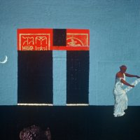 <em>Woman with a Mirror,</em> 1983, 13x13 inches, mixed media with oil on cardboard