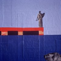 <em>Woman on a Pier,</em> 1983, 12x12 inches, mixed media with oil on cardboard