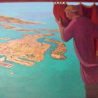 <em>Venice Revealed,</em> 1983, 12x12 inches, mixed media with oil on cardboard
