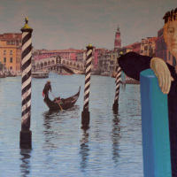 <em>Angel with Gondola,</em> 2006, 11x14 inches, mixed media with matte acrylic on panel