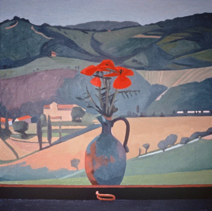 <em>Poppies, View of Olga's House,</em> 1984, 18x18 inches, oil on canvas