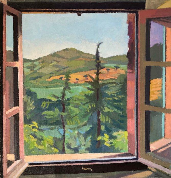 <em>Two Cedars,</em> 2019, 20x19 inches, oil on canvas