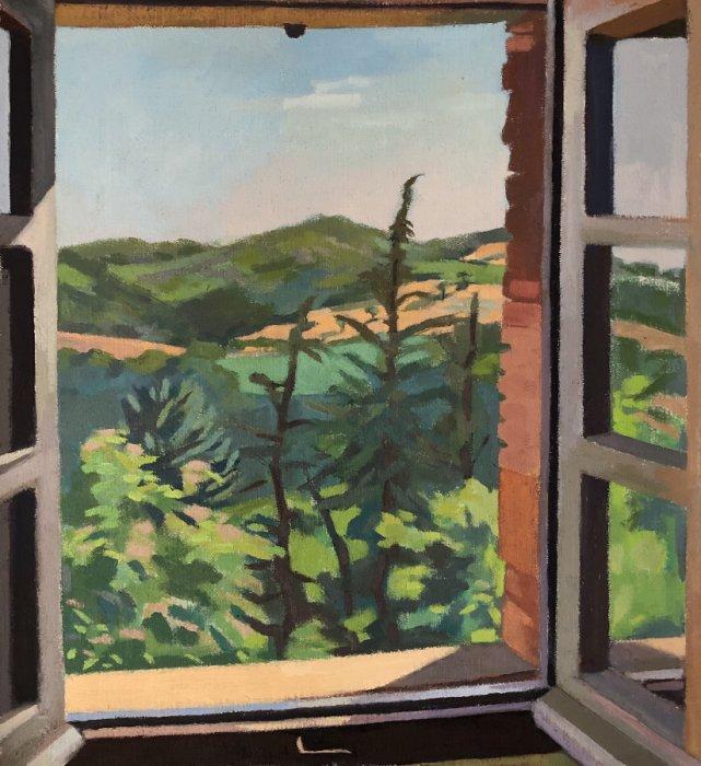 <em>Cedars,</em> 2019, 20x18 inches, oil on canvas
