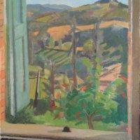 <em>Mesola,</em> 2016, 17x16 inches, oil on canvas