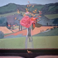 <em>Monia's Flowers, View of Olga's House,</em> 1984, 18x17 inches, oil on canvas