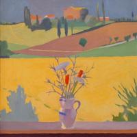 <em>da Olga,</em> 1983, 18x18 inches, oil on canvas