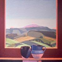 <em>Cetona Still Life, View of Cittá della Pieve,</em> 1982, 30x27 inches, oil on canvas