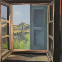 <em>Half Open, Half Closed,</em> 2021, 19x18 inches, oil on canvas